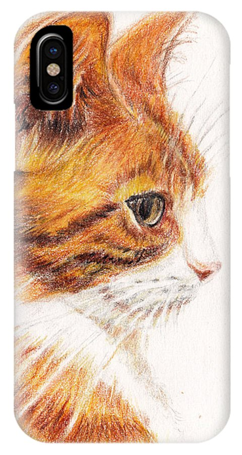 Cats IPhone X Case featuring the painting Kitty Kat Iphone Cases Smart Phones Cells And Mobile Cases Carole Spandau Cbs Art 338 by Carole Spandau