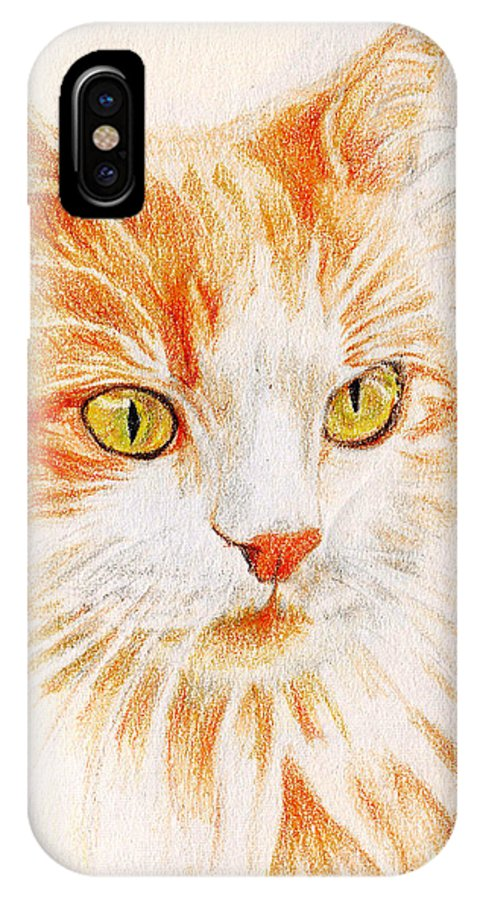 Cats IPhone X Case featuring the painting Kitty Kat Iphone Cases Smart Phones Cells And Mobile Cases Carole Spandau Cbs Art 344 by Carole Spandau