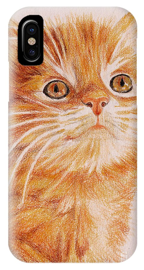 Cats IPhone X Case featuring the painting Kitty Kat Iphone Cases Smart Phones Cells And Mobile Cases Carole Spandau Cbs Art 349 by Carole Spandau