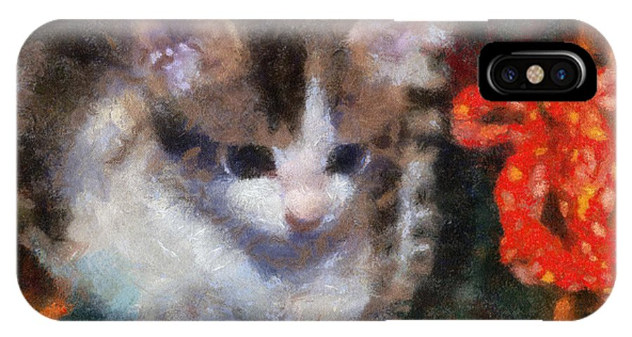 Cat IPhone X Case featuring the photograph Kitty Photo Art 02 by Thomas Woolworth
