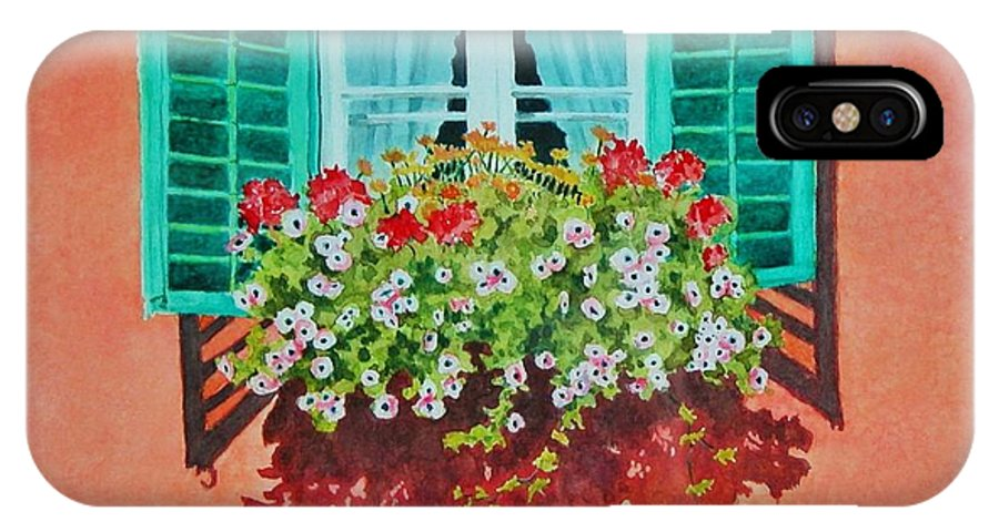 Window Box IPhone X / XS Case featuring the painting Kitzbuhel Window by Mary Ellen Mueller Legault