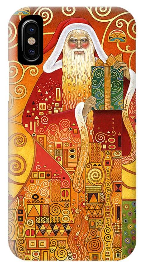 Carol Lawson IPhone X Case featuring the painting Klimt Santa by Carol Lawson