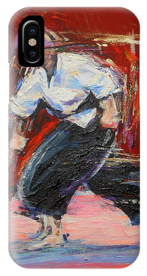 Karate IPhone X Case featuring the painting Kobujutsu by Lucia Hoogervorst