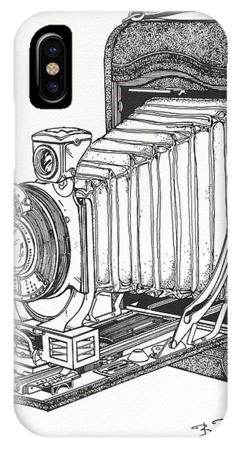 Kodak IPhone X / XS Case featuring the drawing Kodak 3a Autographic by Ira Shander
