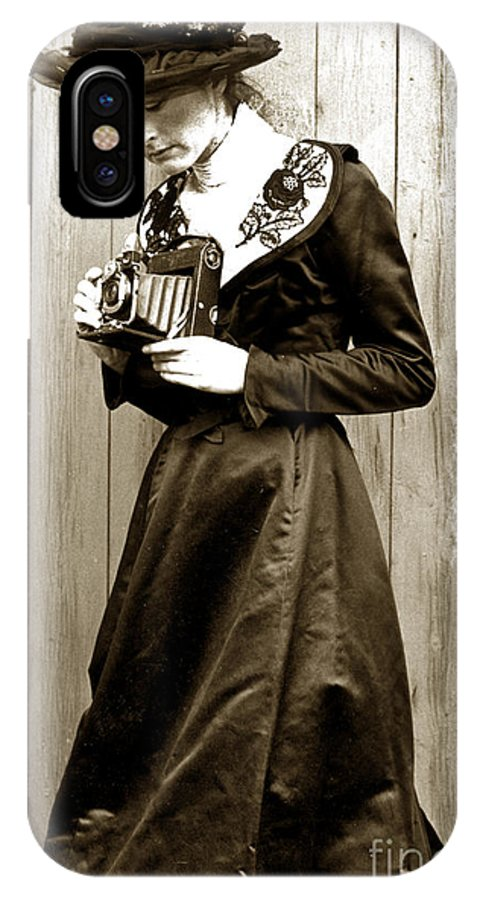 Vintage IPhone X Case featuring the photograph Kodak Girl With A Folding Camera Circa 1918 by California Views Archives Mr Pat Hathaway Archives