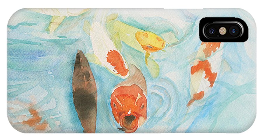 Koi IPhone X Case featuring the painting Koi At Japanese Garden 2012 by Janine Boyer