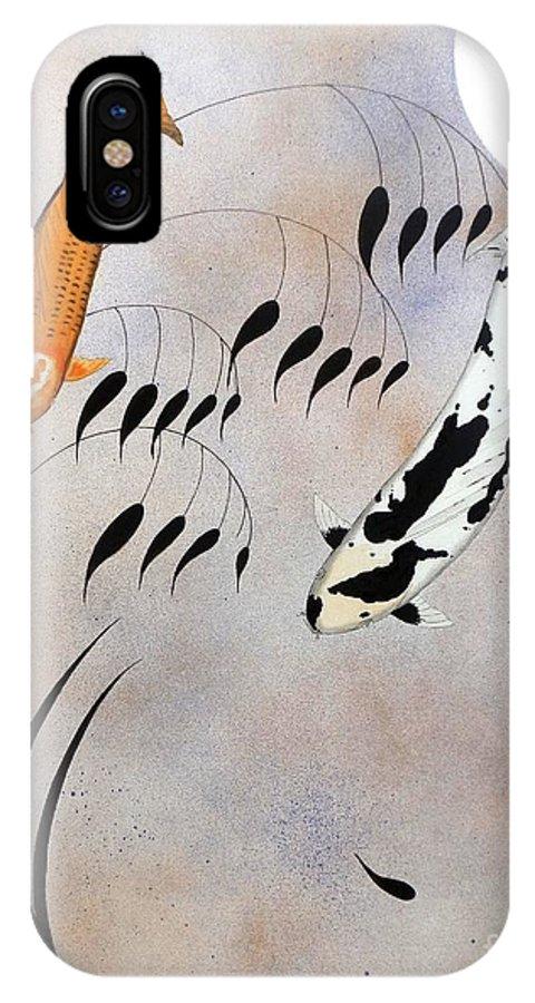 Koi IPhone X Case featuring the painting Koi Hikarimono Utsurimono Chinese Good Luck by Gordon Lavender