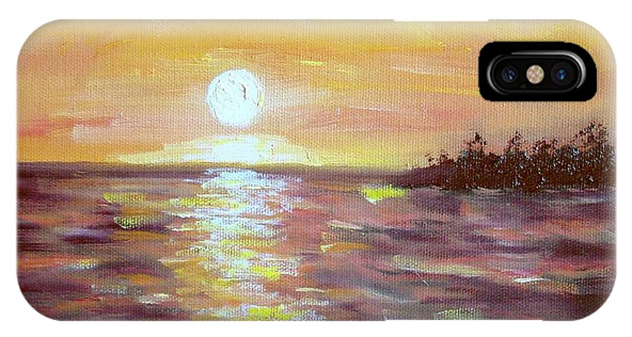 Sunset IPhone X / XS Case featuring the painting Kona Sunset by Laurie Morgan