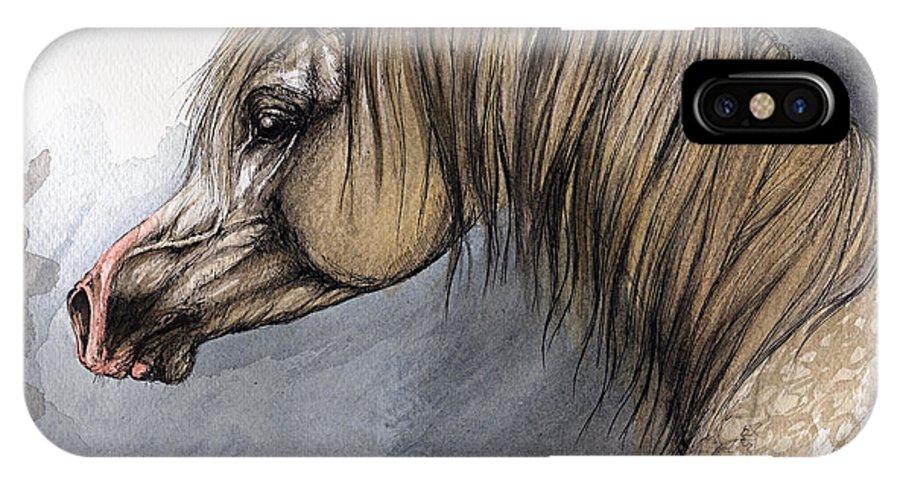 Horse IPhone X Case featuring the painting Kordelas by Angel Ciesniarska