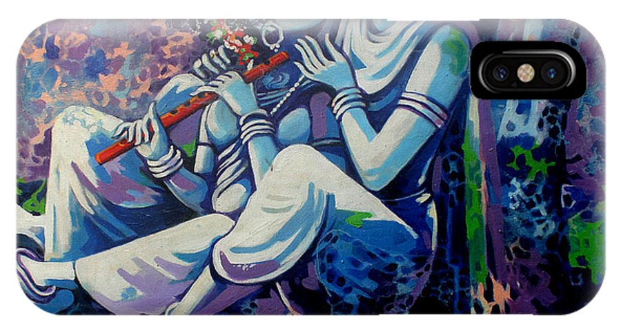 Krishna And Radha In A Great Landscape.. IPhone X Case featuring the painting Krishna Radha by Abhijit Banerjee
