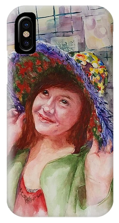 Summer Hat IPhone X Case featuring the painting Kristin by Ellen Judy