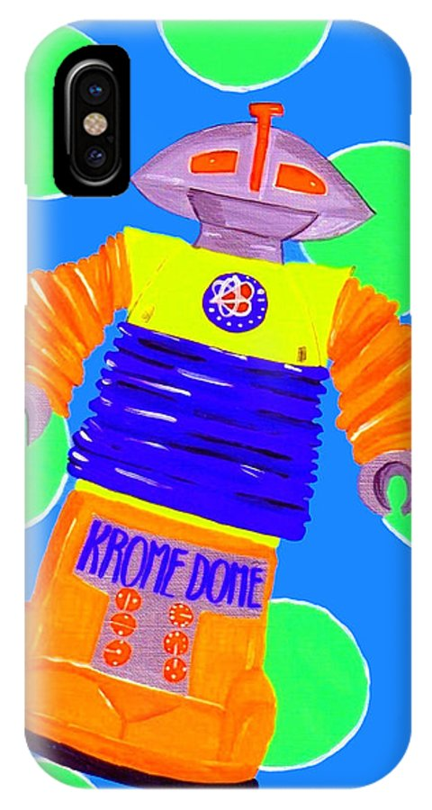 Antique Toys IPhone X Case featuring the painting Kromedome by Lynnda Rakos