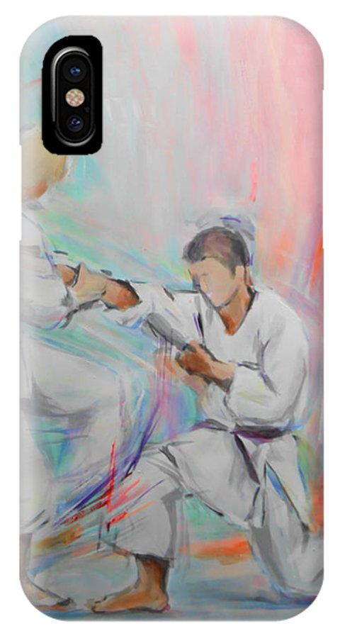 Kumite IPhone X Case featuring the painting Kumite by Lucia Hoogervorst