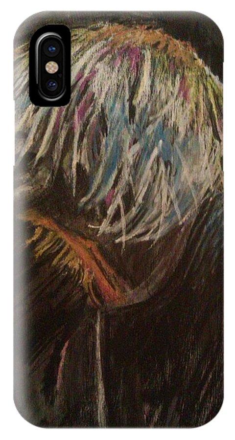 Kurt Cobain IPhone X Case featuring the pastel Kurt Cobain by Adam Underwood