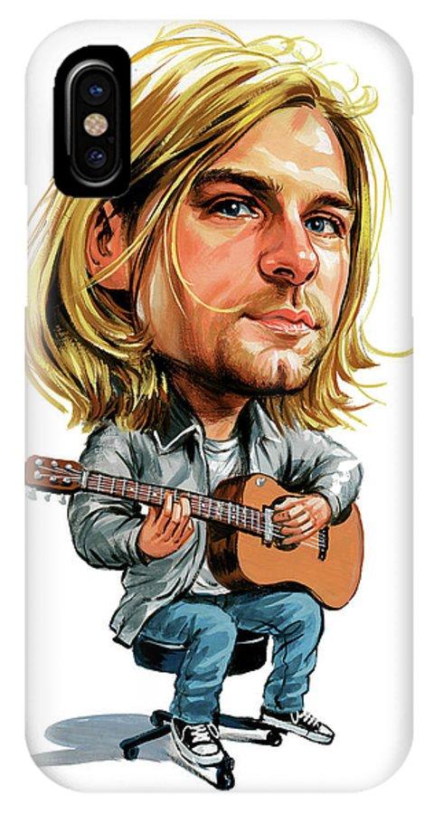 Kurt Cobain IPhone X Case featuring the painting Kurt Cobain by Art