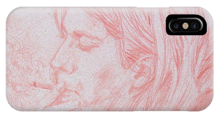 Kurt IPhone X Case featuring the drawing Kurt Cobain Smoking-pencil Portrait by Fabrizio Cassetta