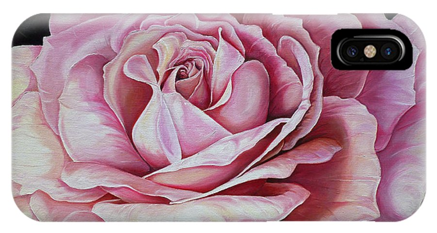 Rose Painting Pink Rose Painting  Floral Painting Flower Painting Botanical Painting Greeting Card Painting IPhone Case featuring the painting La Bella Rosa by Karin Dawn Kelshall- Best