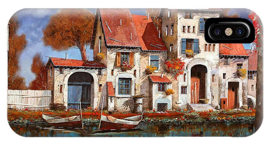 Little Village IPhone X Case featuring the painting La Cascina Sul Lago by Guido Borelli