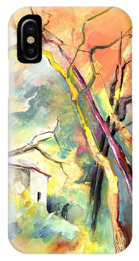 Landscapes IPhone X Case featuring the painting La Casita 03 by Miki De Goodaboom