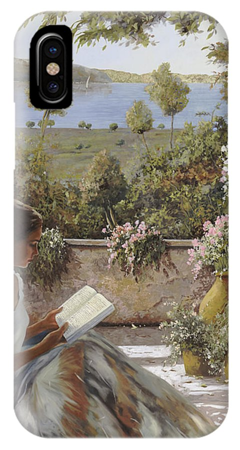 Read IPhone X Case featuring the painting La Lettura All'ombra by Guido Borelli
