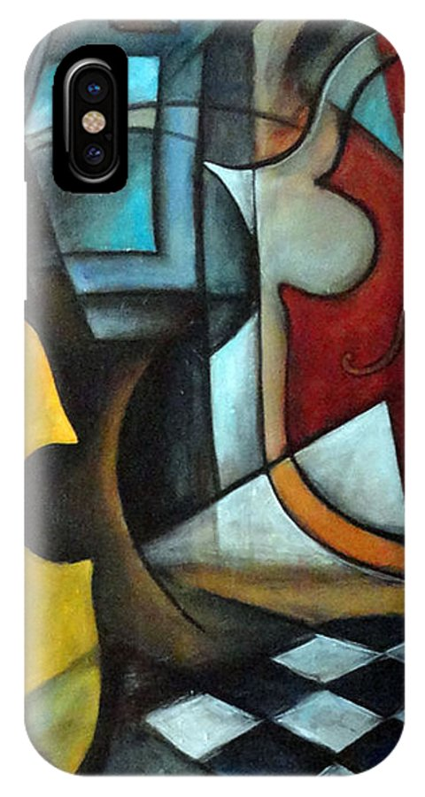 Abstract IPhone X Case featuring the painting La Musique 1 by Valerie Vescovi