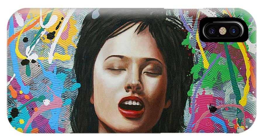 Woman IPhone X Case featuring the painting La Petite Mort by Allan OMarra
