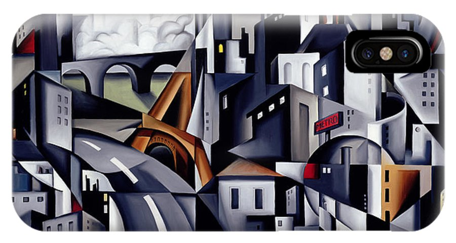 Rive IPhone X Case featuring the painting La Rive Gauche by Catherine Abel