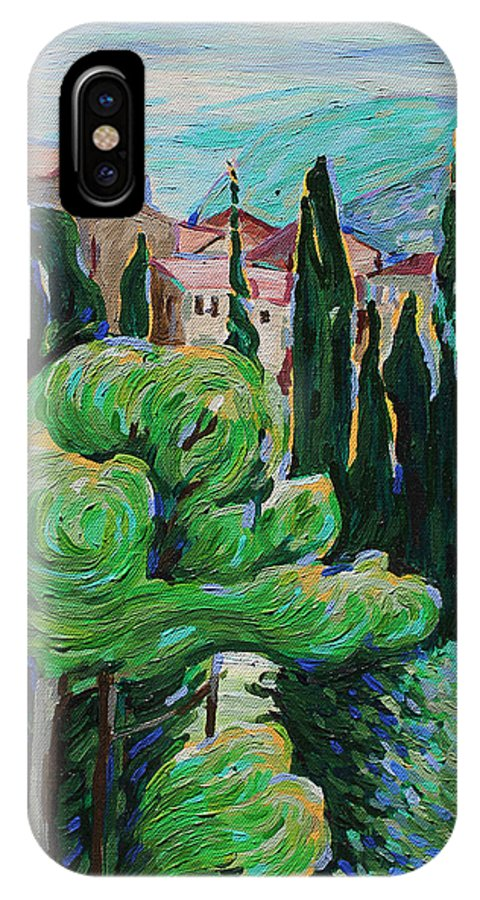 La Turbie IPhone X Case featuring the painting La Turbie Hills Above Monaco by Bridget Brummel
