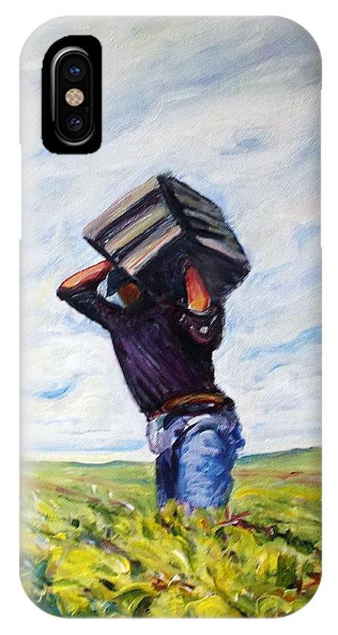 Farm Worker IPhone X Case featuring the mixed media Labor Day by Lorrie Sniderman