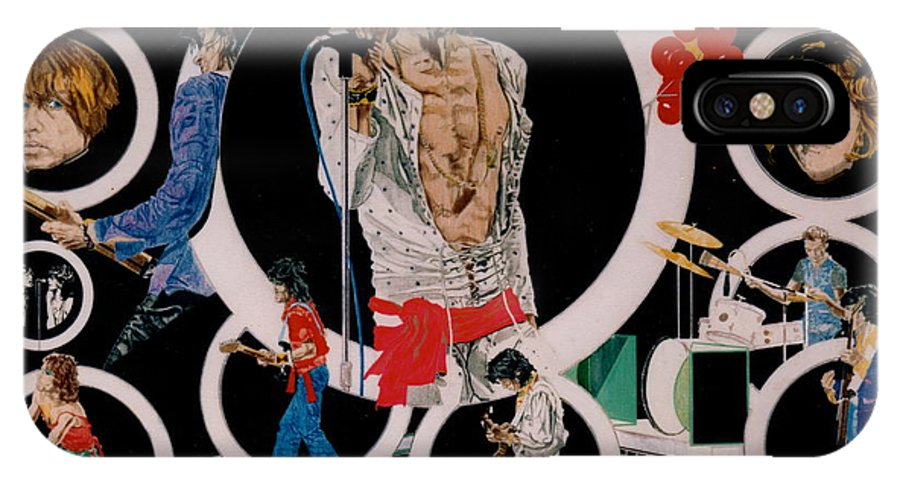 Mick Jagger;keith Richards;brian Jones;charlie Watts;bill Wyman;rock & Roll;music;guitars;water IPhone X / XS Case featuring the drawing Ladies And Gentlemen - The Rolling Stones by Sean Connolly