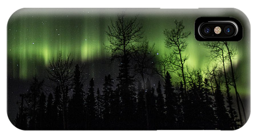 Alaska IPhone X Case featuring the photograph Lady Aurora's Dance by Shaleen Holmes