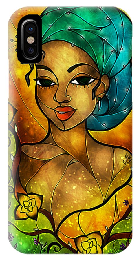 Flowers IPhone X Case featuring the digital art Lady Creole by Mandie Manzano