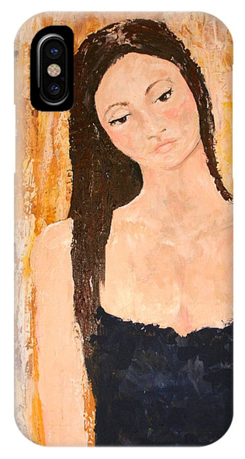 Lady IPhone X Case featuring the painting Lady In Waiting by Kathy Peltomaa Lewis