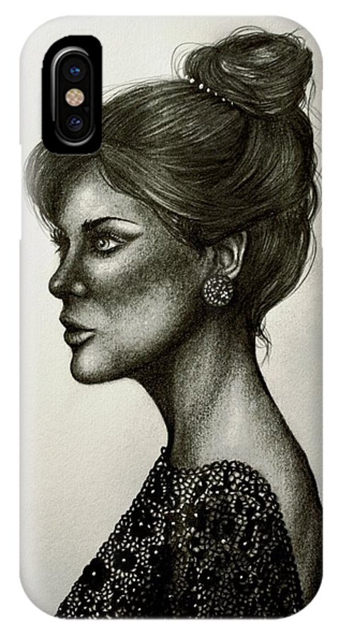Lady IPhone X Case featuring the drawing Lady Lace by Bonnie Leeman