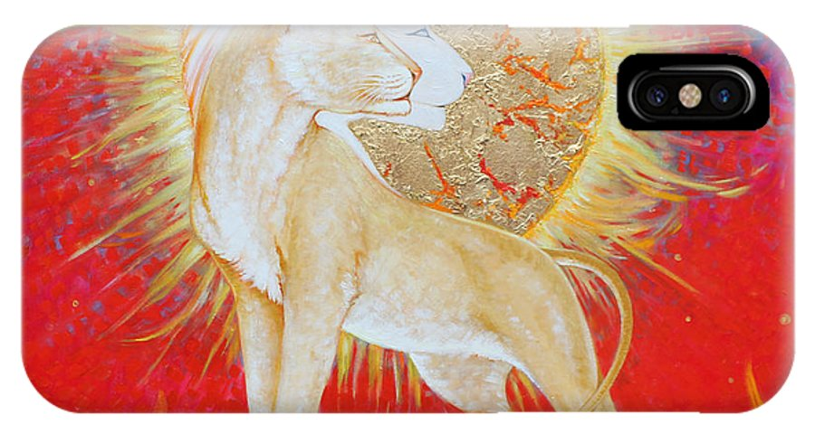 Lioness IPhone X Case featuring the painting Lady Of Flame by Silvia Duran