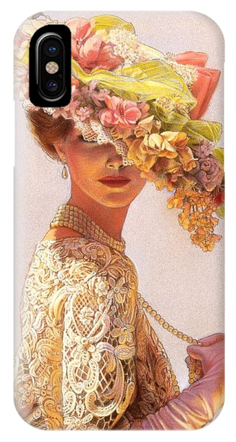 Portrait IPhone X Case featuring the painting Lady Victoria Victorian Elegance by Sue Halstenberg