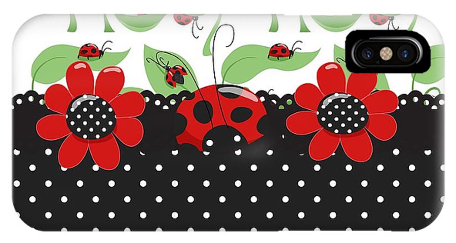 Flowers IPhone X Case featuring the digital art Ladybug Flower Power by Debra Miller
