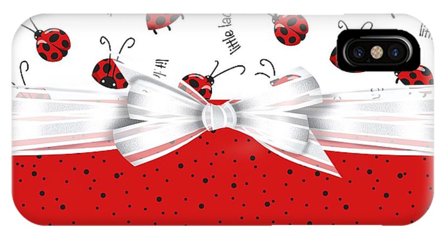 Ladybugs IPhone X Case featuring the digital art Ladybug Red And White by Debra Miller
