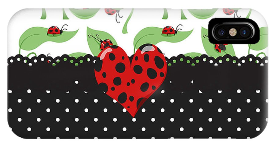 Heart IPhone X Case featuring the digital art Ladybug Special by Debra Miller