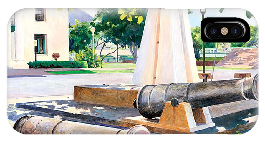 Lahaina Maui Cannons IPhone Case featuring the painting Lahaina 1812 Cannons by Don Jusko