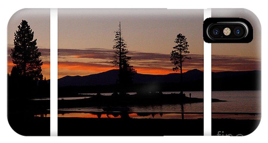 Lake Almanor IPhone X Case featuring the digital art Lake Almanor Sunset Triptych by Peter Piatt