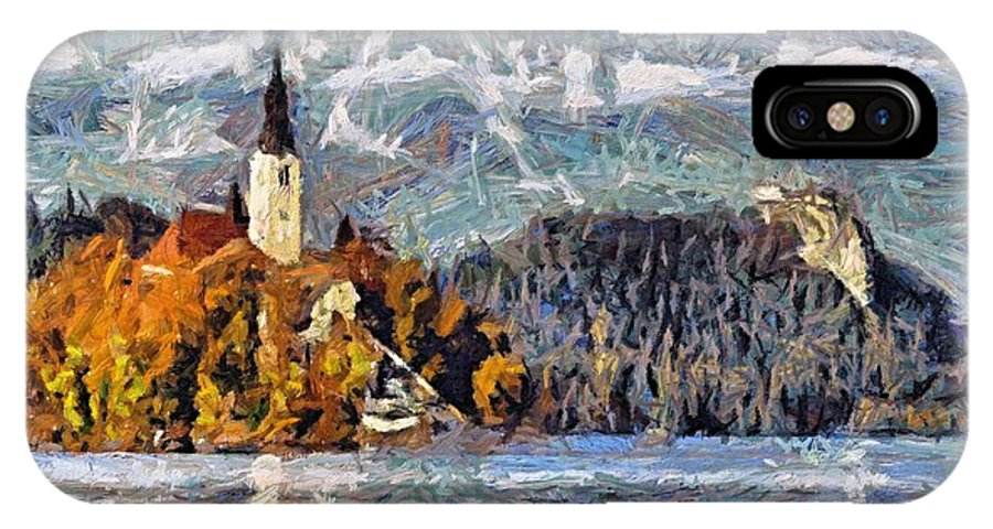 Rural Scenes IPhone X Case featuring the painting Lake Bled And Mountains by Dragica Micki Fortuna