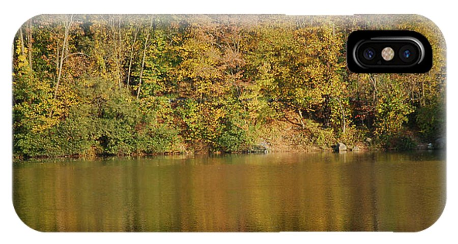 Trees IPhone X Case featuring the photograph Lake In Autumn by Alliyah Phillips