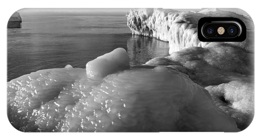B&w IPhone X Case featuring the photograph Lake Michigan Ice X by Frederic A Reinecke