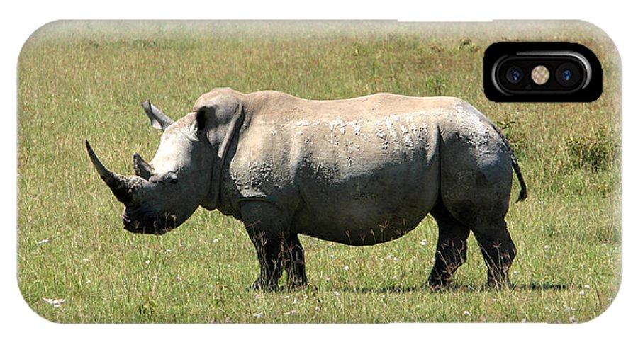 Africa IPhone X Case featuring the photograph Lake Nakuru White Rhino by Aidan Moran