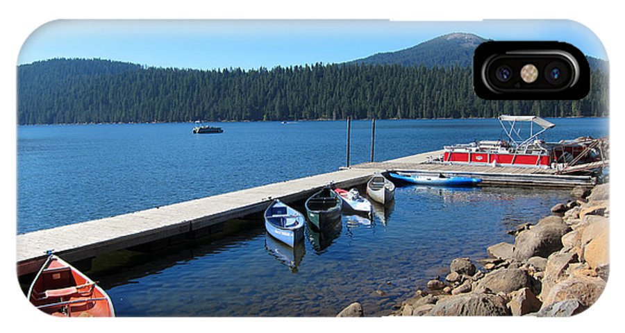 Lake Of The Woods Oregon IPhone X Case featuring the photograph Lake Of The Woods Boat Harbor by Debra Thompson