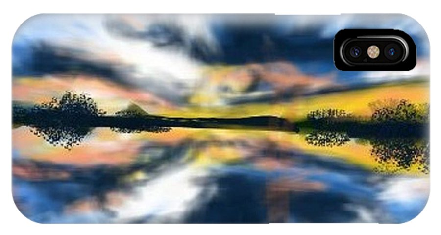 Water IPhone X Case featuring the digital art Lake Reflections by Nancy Good
