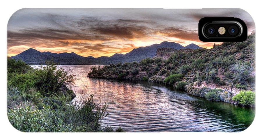 Lake Saguaro IPhone X Case featuring the photograph Lake Saguaro Sunset by Anthony Citro