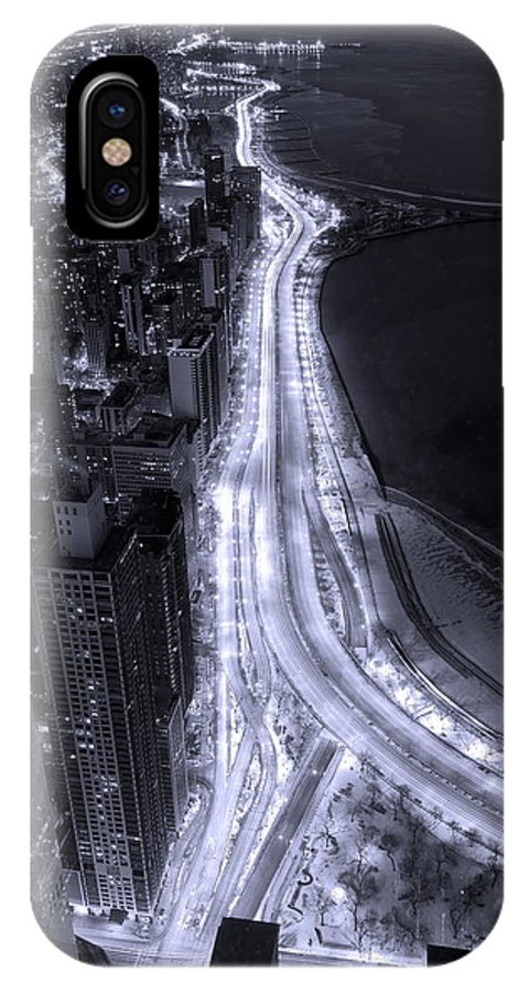 Beach IPhone X Case featuring the photograph Lake Shore Drive Aerial B And W by Steve Gadomski