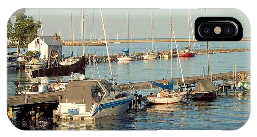Waterfront IPhone X Case featuring the photograph View Of The Harbor by Mary Wolf
